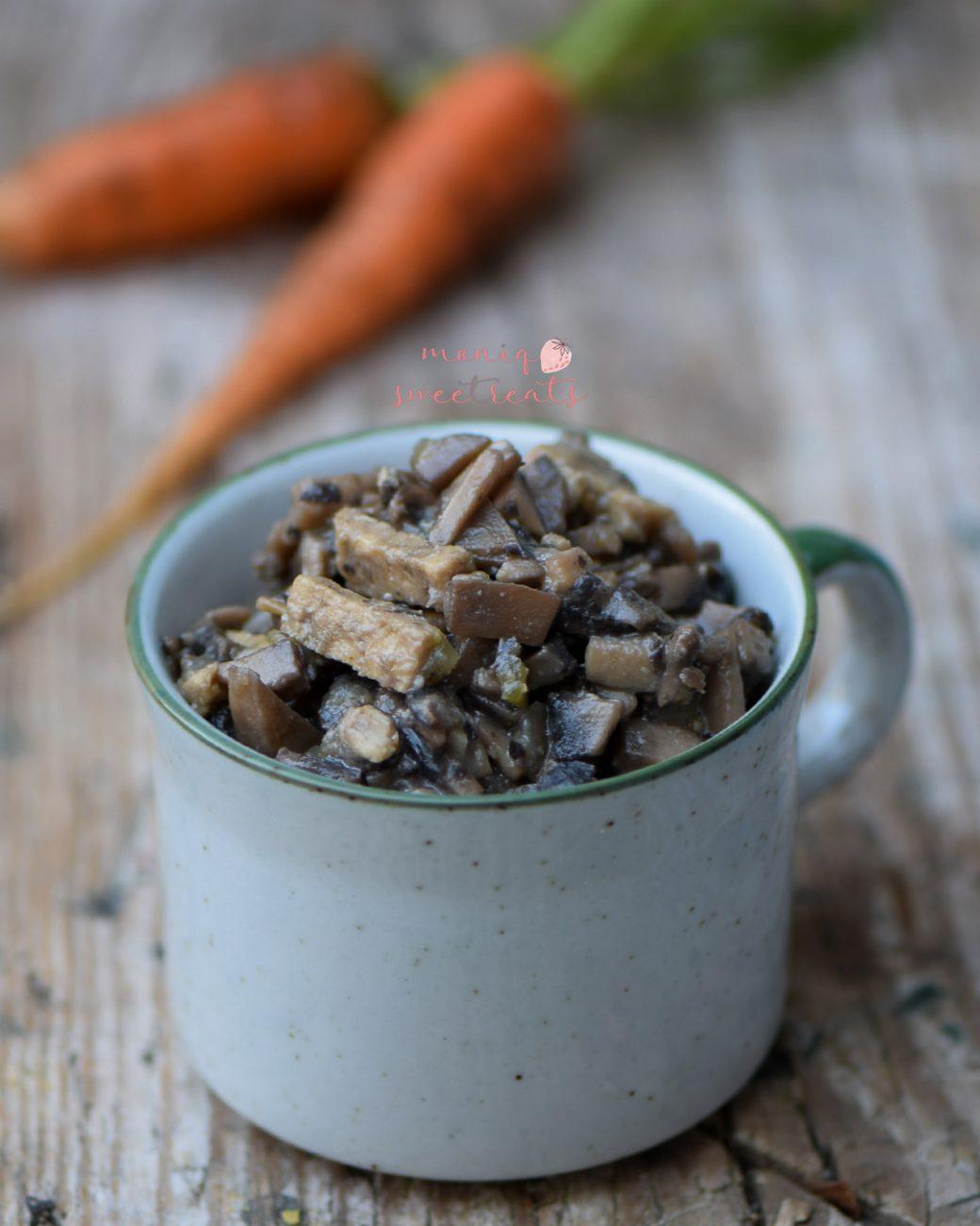 Picadinho de cogumelos e tempeh